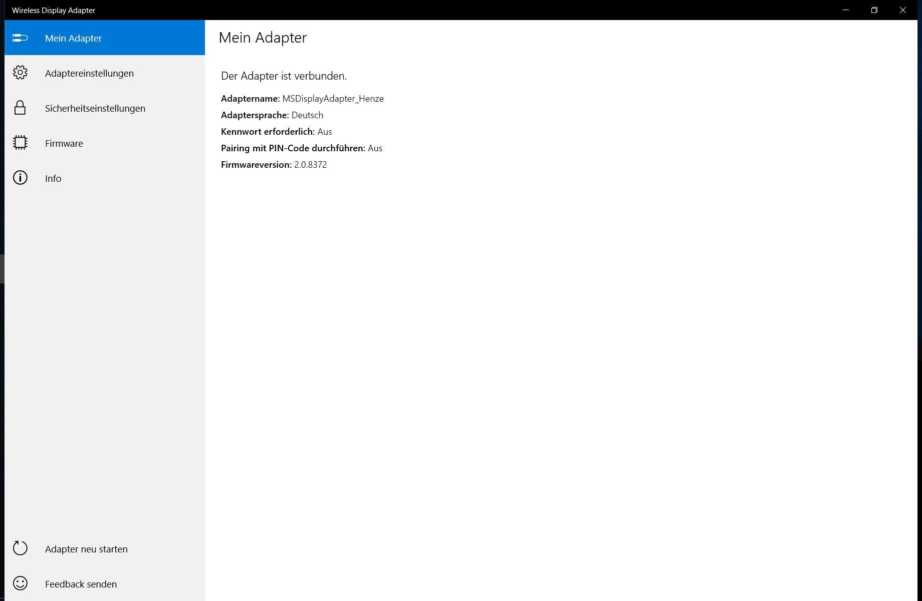 Microsoft Wireless Adapter - Übersicht