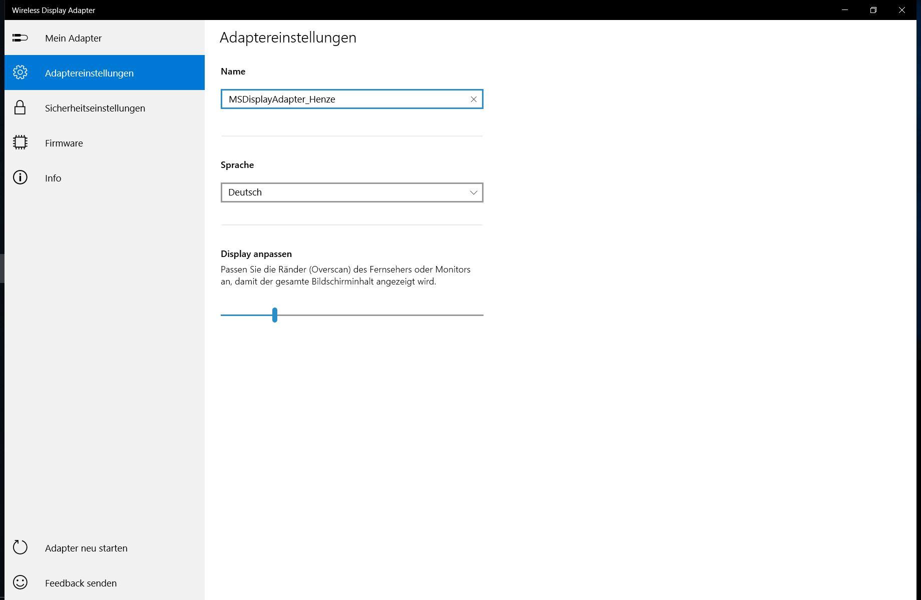 Microsoft Wireless Adapter - Einstellungen